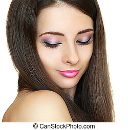 Luxury makeup girl looking down. Closeup fashion portrait