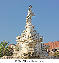 Flora Fountain and Oriental Building on famous piazza in...