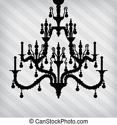 silhouette of luxury chandelier on a striped background...