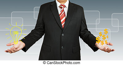 Businessman with idea and money