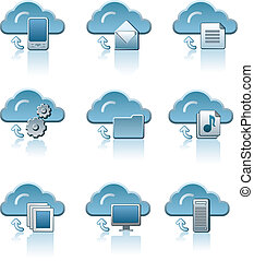 Cloud service icon set
