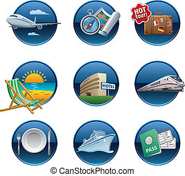 Travel icon set buttons