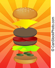 Hamburger illustration, layered burger with cheese...