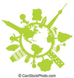 Eco Earth - The Tree protect world.Green color from tree...