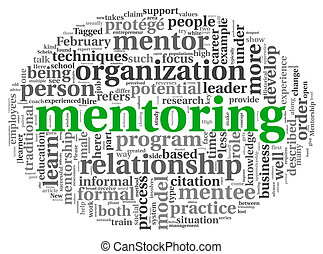 Mentoring concept in word tag cloud - Mentoring and teamwork...