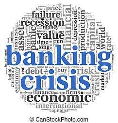 Banking crisis concept on white - Banking crisis concept in...