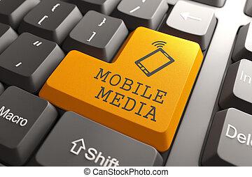 Mobile Media Button. - Mobile Media Concept. Orange Button...