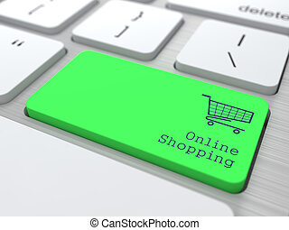 Online Shopping Concept Button on Green Modern Computer...