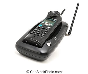 Black cordless telephone - Cordless telephone on a white...