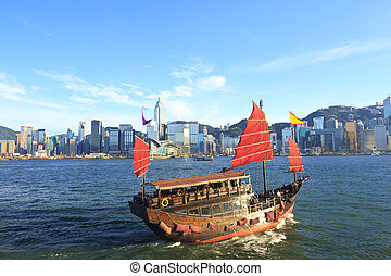 Junk boat along Victoria Harbour in Hong Kong