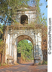 Ancient Portugal arch taken in Old Goa, India