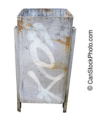 Abfalleimer, freigestellt - mit Graffiti besprühter,...