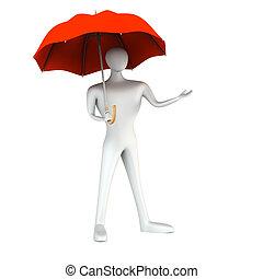3D, homme, rouges, parapluie