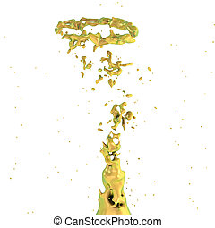 golden liquid splash whirl isolated on white background