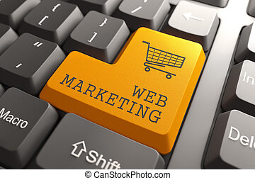 Web Marketing Button. - Web Marketing. Orange Button on...