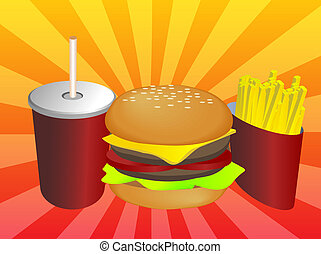 Fastfood combo - Fast food combo illustration, hamburge...