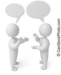 conversación, 3D, render, persona