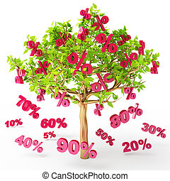 Big sale - Discounts are falling from the tree, big sale, 3d...