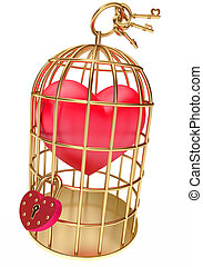 heart in a golden cage, on a white background, 3d render