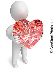 diamond heart in hand, on a white background, 3d render
