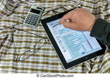 Signing a 1040 tax form with an Ipad - 1040 taxes signed...