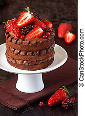 Chocolate cake - Delicious chocolate cake with cream and...