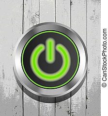 green power button icon on the wooden background