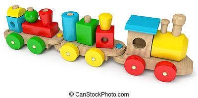 Drewniany, zabawka, pociąg