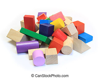 stack of colorful wooden building blocks on a white background