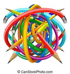 Pencil ball, 3d render