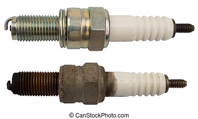 Used and new sparkplug, isolated against background