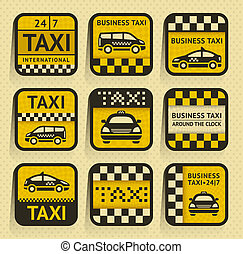 Taxi insignia, old style, vector illustration eps10