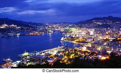 Nagasaki - Skyline of the bay of Nagasaki, Japan.