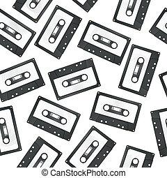audio cassette seamless pattern - illustration of audio...