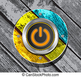 orange power button icon on the colorful wooden striped...