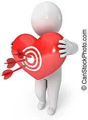 Small people with a heart. Cupid arrow
