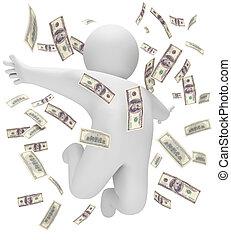 Rain of money, 3d render