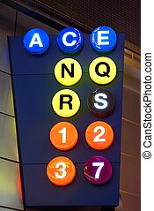 Subway Lines - Sign for subway lines in New York City at...