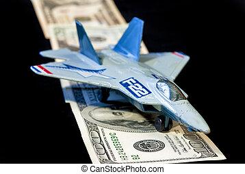 militar, avião, brinquedo, terras, faixa, Dinheiro