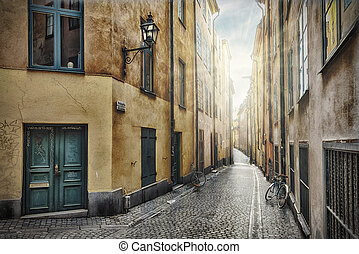 Empty street in Stockholm Old Town - Empty street, Stockholm...