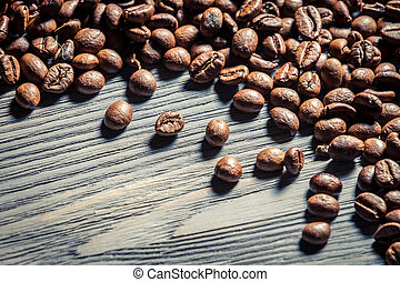 Coffee seed on wooden table background no. 1