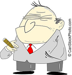 Bad Boss - Cartoon alike of an old man depicted as a grumpy...