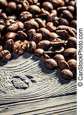 Coffee seed on wooden table background no 4