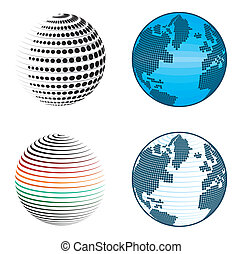Abstract globe icons and symbols