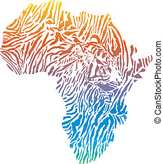abstract Africa in a tiger camoufla - vector illustration of...