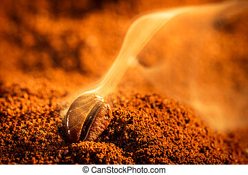 Aroma of coffee seeds roasting