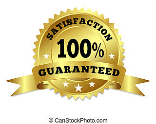 Gold Badge Satisfaction Guaranteed With Ribbon - Vector gold...
