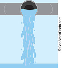 Water Flowing Pipe  - Water flowing from metal pipe