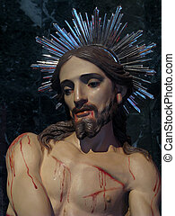 The Scourging of Jesus - A detail of the statue of The...