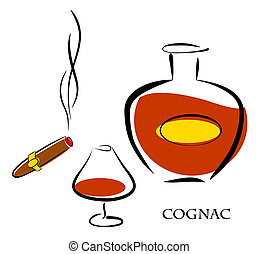 Glass and bottle of luxury cognac with best tobacco cigar for high quality lifestyle